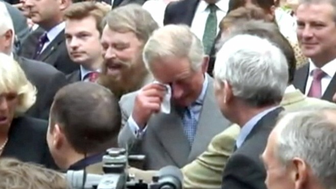 VIDEO: Tears of joy come to Prince Charles at a recent garden party.