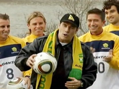 VIDEO: John Travolta sings for the Australian World Cup team.
