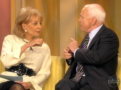 Picture of Barbara Walters and John McCain.