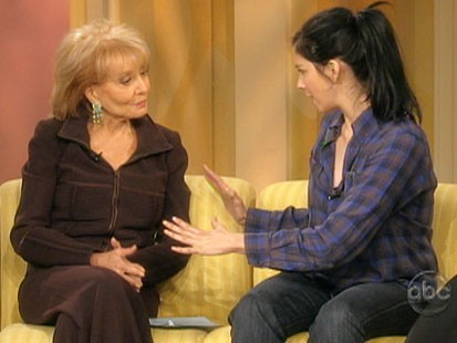 Picture of Barbara Walters and Sarah Silverman on The View.