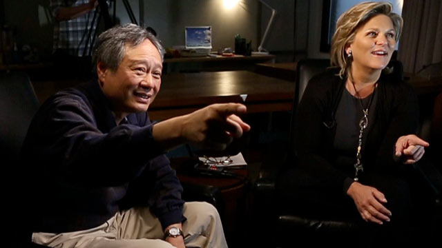 "PHOTO: During an interview for ABC News ""Nightline,"" Director Ang Lee points to his favorite scene in ""Life of Pi,"" for which he has been nominated for the Best Director Oscar."