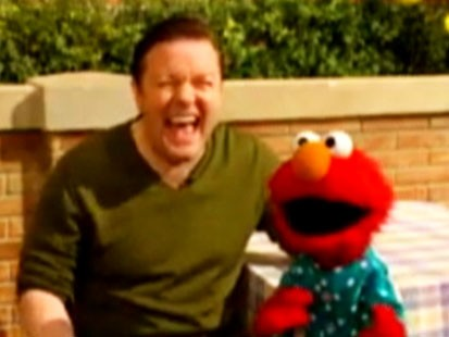 Video: Ricky Gervais and Elmo outtakes.