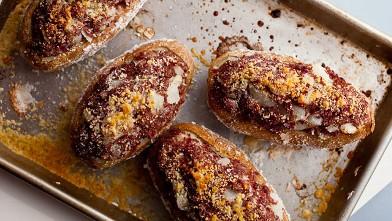 PHOTO: Melissa Clark's baked stuffed potatoes with corned beef and dill butter are shown here.