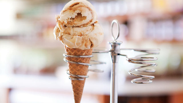 PHOTO: Sweet Cream and Sugar Cones' brown sugar ice cream with a ginger-caramel swirl is shown here.