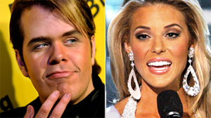 PHOTO California Carrie Prejean, left answers a question from judge Perez Hilton, shown in this file photo, left, about legalizing same-sex marriage during the Miss USA Pageant