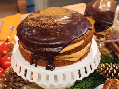 PHOTO: Carla Halls pumpkin cake with chocolate glaze is shown here.