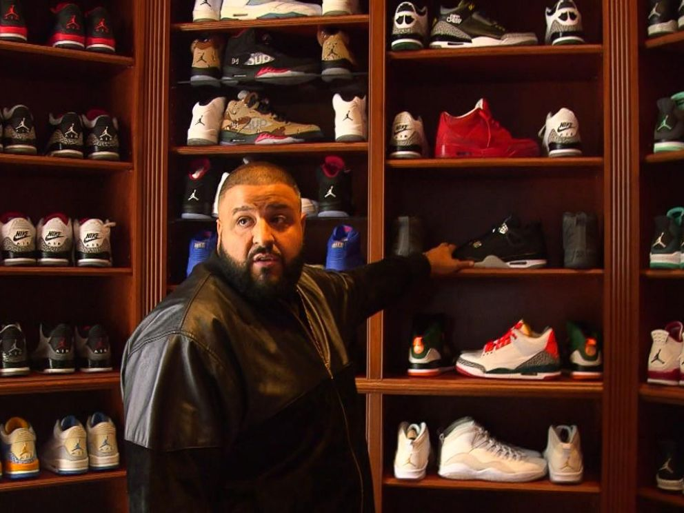 DJ Khaled is shown here in his sneaker room inside his Miami mansion during an interview with Nightline.