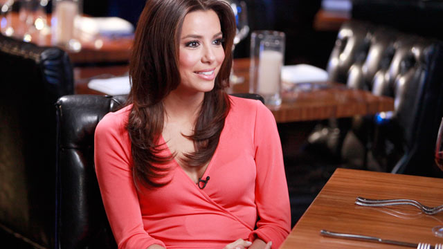 "PHOTO: Katie Couric interviews ""Desperate Housewives"" Eva Longoria about the series finale of the popular show, at her restaurant in Hollywood."