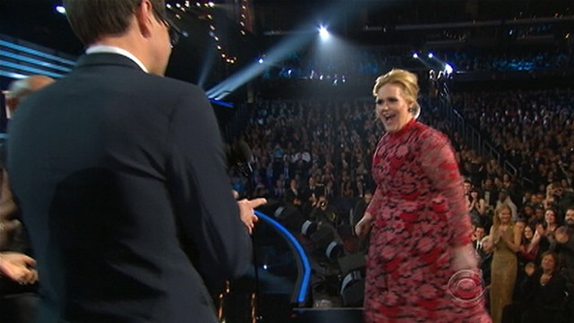 VIDEO: Jennifer Lopez gives the boot to a man who took the microphone during the awards show.