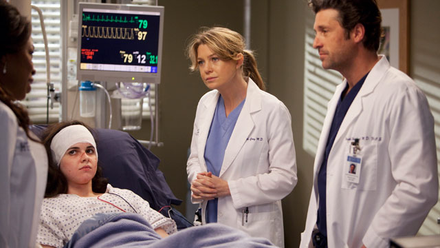 """PHOTO: Ellen Pompeo and Patrick Dempsey are shown in a scene from """"Grey's Anatomy""""."""