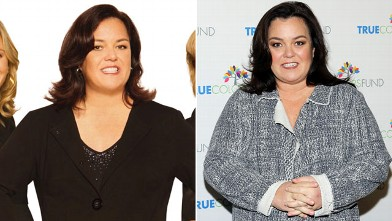 Rosie O'Donnell is seen left, in this undated publicity photo from The View, which she left in 2007 and right, The Beacon Theatre on December 8, 2012 in New York City.