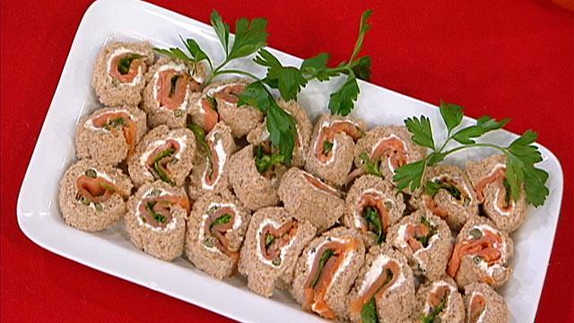 PHOTO: Diane Henderiks' Smoked Salmon & Arugula Pinwheels are shown.