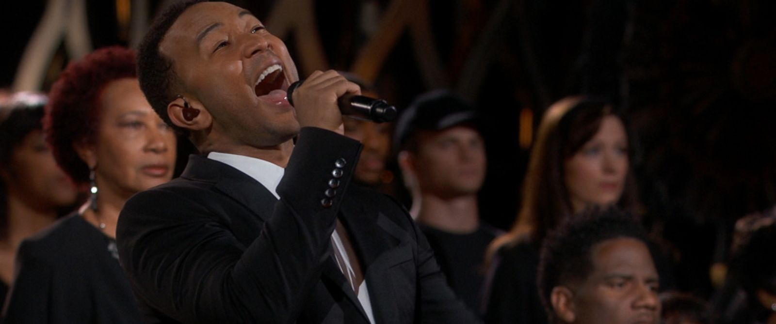"PHOTO: John Legend performs ""Glory"" from the film ""Selma"" during the 87th annual Academy Awards, Feb. 22, 2015 in Hollywood, Calif."
