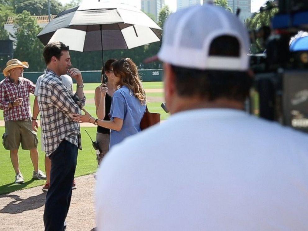 Actor Jon Hamm, who plays sports agent JB Bernstein in Million Dollar Arm shown here on set.