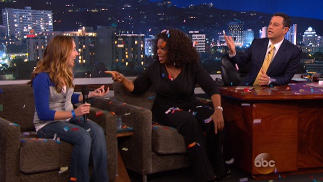 VIDEO: Oprah Winfrey gave a car to an unsuspecting member of Jimmy Kimmels studio audience.