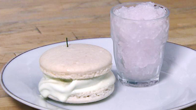 "PHOTO: ""Nightline"" Platelist chef Jerome Chang shares his recipe for making a lemon-basil-lavender granita with a honey rosemary ice cream macaroon sandwich."