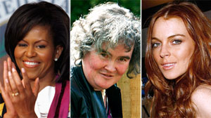 Celebrity heat index includes Michelle Obama, Susan Boyle and Lindsay Lohan.