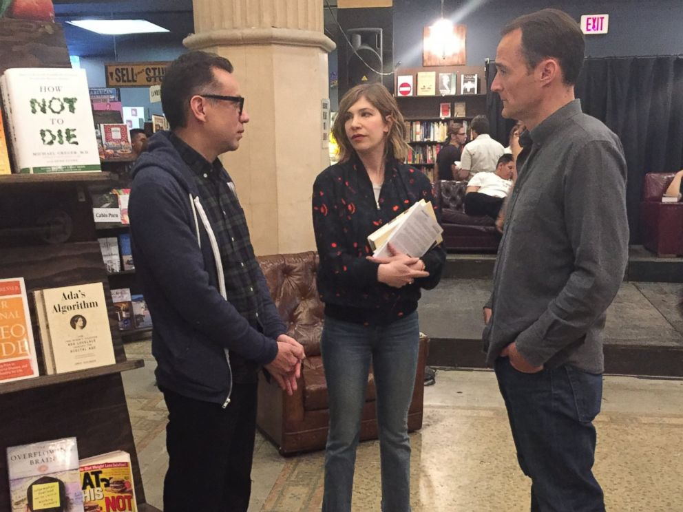Fred Armisen (left) and Carrie Brownstein (center) talk with ABC News Nick Watt (right) during an interview for Nightline.