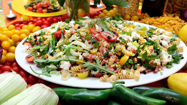 PHOTO: Richard Blais' whole wheat pasta salad with jalapeno and feta is shown here.