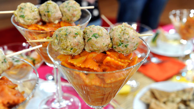 "PHOTO: Daniel Holzman's ""Skyballs"" meatballs and vodka sauce recipe is shown here."