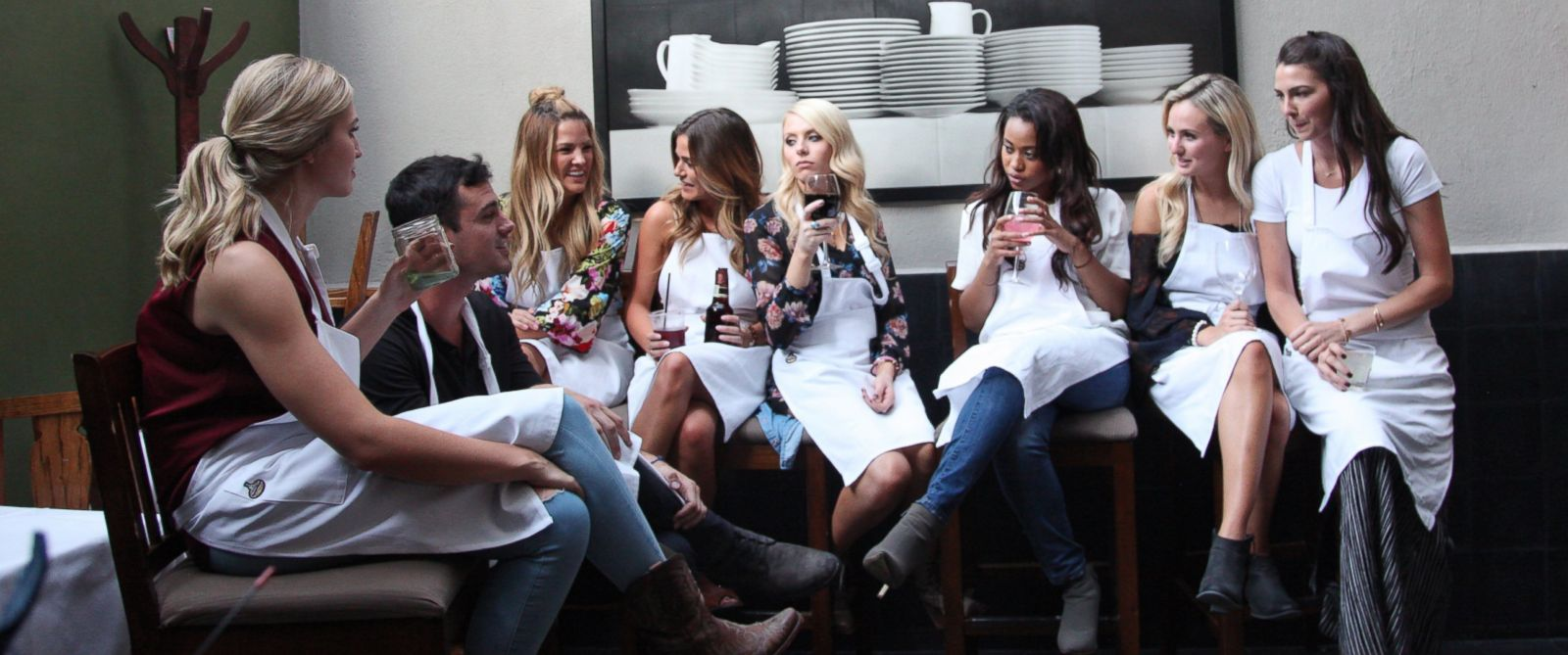 """PHOTO: Ben Higgins and the competitors appear in the Feb. 1, 2016 episode of """"The Bachelor."""""""