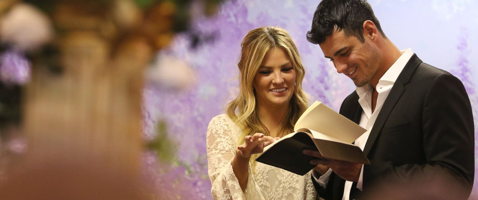 """PHOTO:Becca is thrown off guard when her date card is accompanied by a wedding dress in """"The Bachelor."""""""