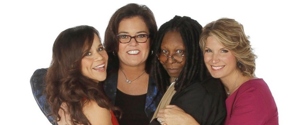 """PHOTO: Rosie Perez, left, and Nicolle Wallace, right, are the new co-hosts of """"The View,"""" joining Whoopi Goldberg and Rosie ODonnell."""