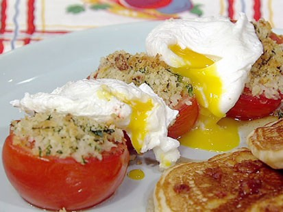 PHOTO: Michael Symons bacon pancakes, tomatoes and eggs are shown here.