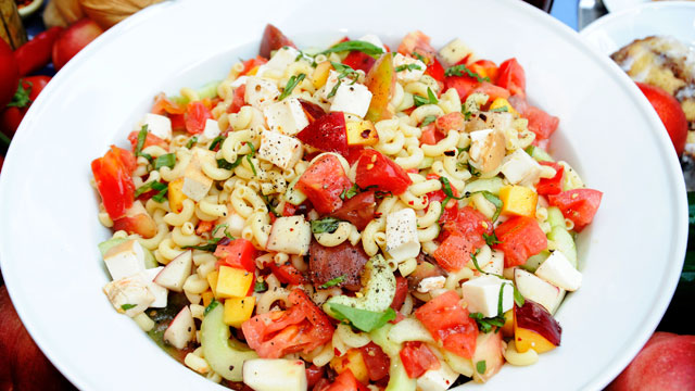 PHOTO: Ted Allen's summer pasta salad with peaches and tomatoes is shown here.
