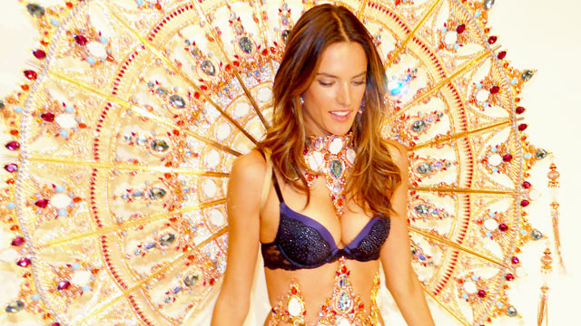 PHOTO: Victorias Secret model Alessandra Ambrosio wears 30-pound gold angel wings in a fashion show, Nov. 9, 2011.