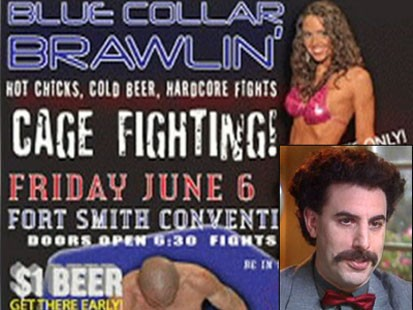 fight poster and borat