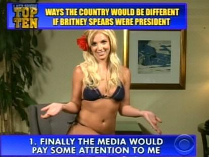 Britney Spears appears on David Letterman.