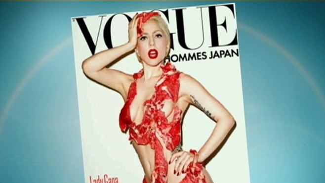 VIDEO: PETA decries Lady Gagas decision to pose in a dress made of raw meat.