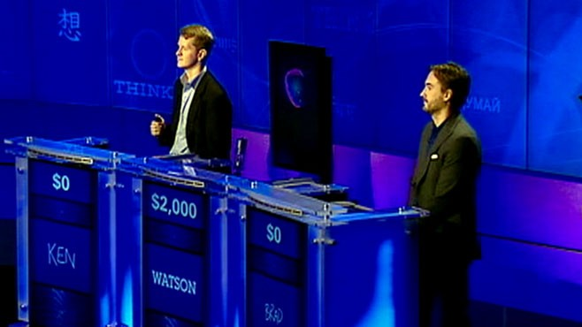 VIDEO: Game-show champs Ken Jennings and Brad Rutter face off against an IBM computer.