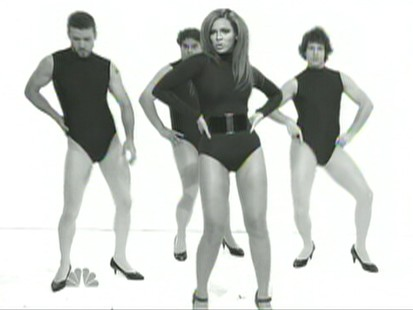 Picture of Justin Timberlake, Bobby Moynihan, Beyonce Knowles and Andy Samberg on Saturday Night Live.