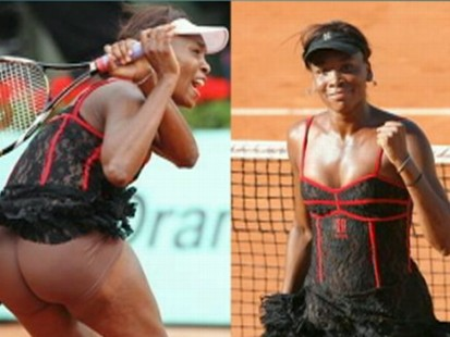 VIDEO: Venus Williams French Open clothing includes a corset and nude shorts.