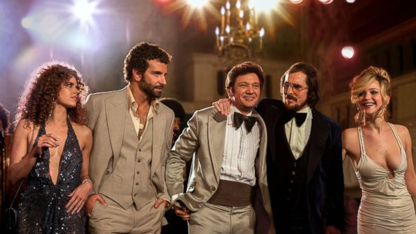 "PHOTO: This film image released by Sony Pictures shows, from left, Amy Adams, Bradley Cooper, Jeremy Renner, Christian Bale and Jennifer Lawrence in a scene from ""American Hustle."""