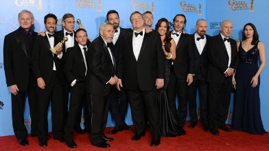 "PHOTO: Actor and director Ben Affleck, sixth from left, and the cast and crew of ""Argo"" pose with the award for best motion picture - drama for ""Argo"" backstage at the 70th Annual Golden Globe Awards, Jan. 13, 2013, in Beverly Hills, Calif."
