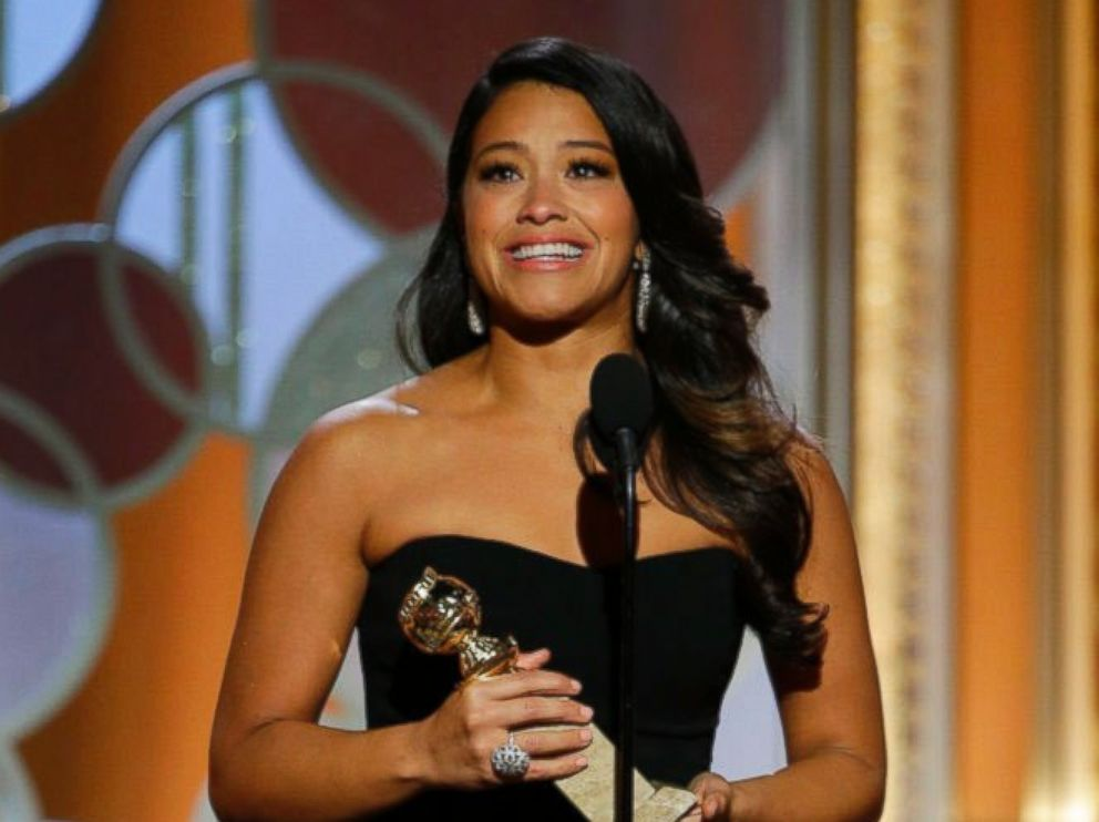 PHOTO: Gina Rodriguez accepts the award for best actress in a TV series, comedy or musical for her role in Jane the Virgin at the 72nd Annual Golden Globe Awards, Jan. 11, 2015 at the Beverly Hilton Hotel in Beverly Hills, Calif.