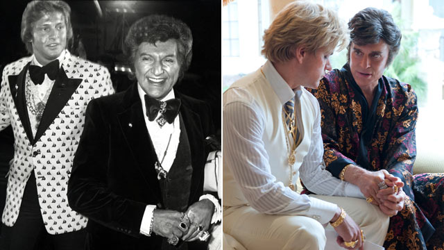 "PHOTO: Liberace and Scott Thorson at the Coconut Grove in Los Angeles, California in this undated photo, while actors Matt Damon and Michael Douglas, far right, depict the two in the 2013 film ""Behind the Candelabra"". (Photo by )"