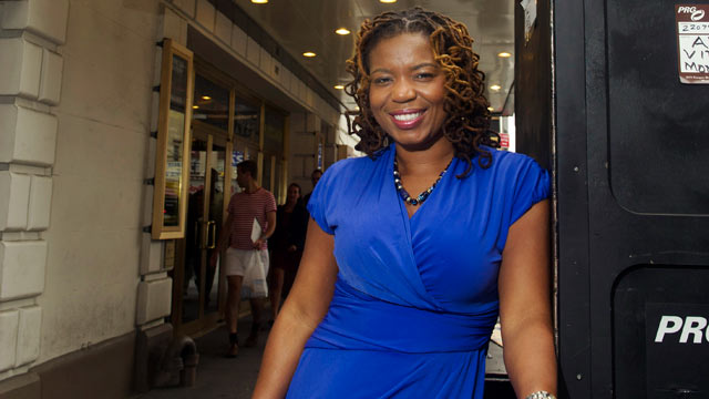 PHOTO: Playwright Katori Hall poses for a portrait in front of the Bernard B. Jacobs Theatre in New York, Sept. 21, 2011.