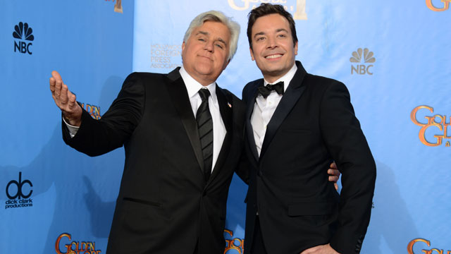 "PHOTO: This Jan. 13, 2013 file photo shows Jay Leno, host of ""The Tonight Show with Jay Leno,"" left, and Jimmy Fallon, host of ""Late Night with Jimmy Fallon"" backstage at the 70th Annual Golden Globe Awards in Beverly Hills, Calif."
