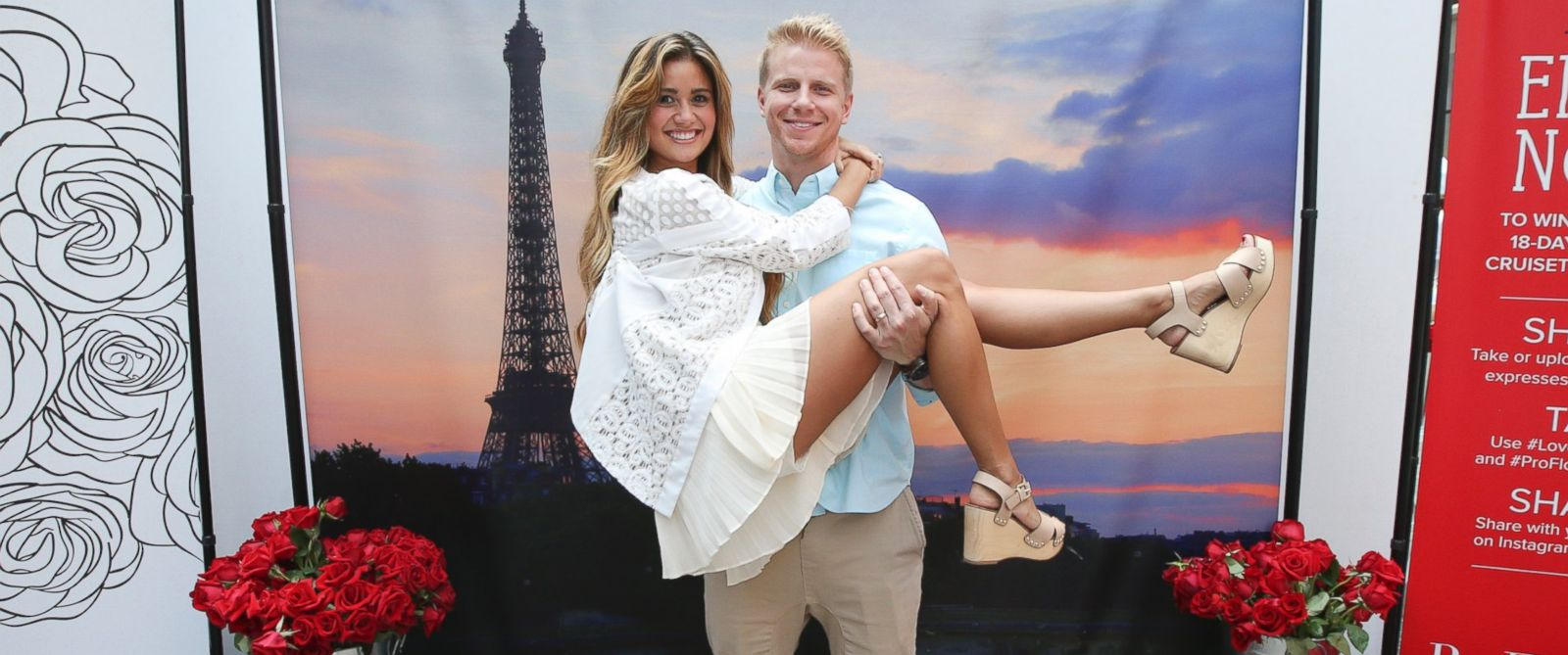 "PHOTO: ""The Bachelor"" season 17 stars Sean and Catherine Lowe attend the ProFlowers Romance Month event in Times Square, Aug. 5, 2014, in New York."