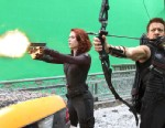 """PHOTO: Scarlett Johansson and Jeremy Renner are shown during the filming of Marvels """"The Avengers."""""""