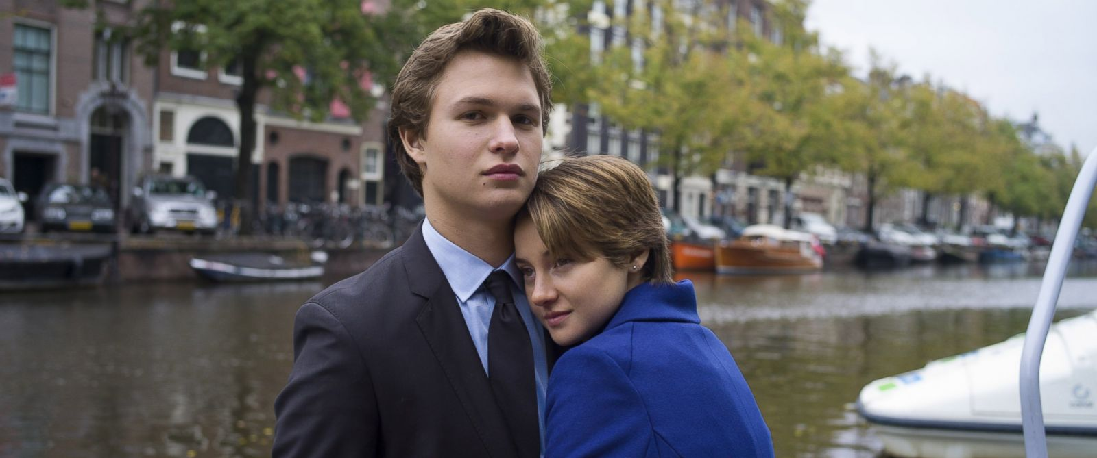 "PHOTO: Hazel (Shailene Woodley) and Gus (Ansel Elgort) take in the sights during an unforgettable trip to Amsterdam in the film, ""The Fault in Our Stars""."