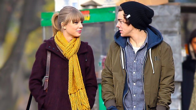 PHOTO: One Direction star Harry Styles pictured with rumored girlfriend Taylor Swift as they take a walk around Central Park in New York City, Dec. 2, 2012.