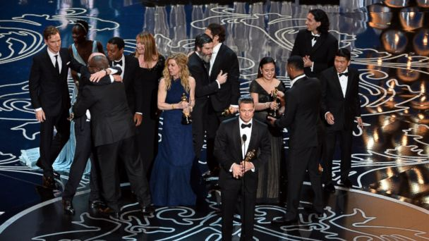 PHOTO: Brad Pitt accepts the Best Picture award for 12 Years a Slave with actors Benedict Cumberbatch, Lupita Nyongo, Chiwetel Ejiofor, producers Dede Gardner, Jeremy Kleiner and Anthony Katagas onstage during the Oscars at the Dolby Theatre March 2, 2