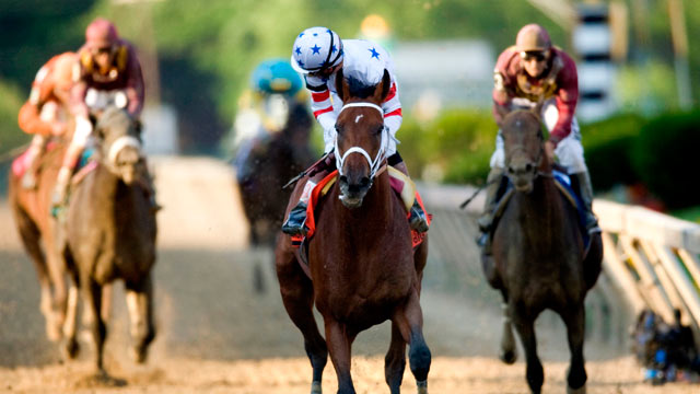 PHOTO: Jockey Kent Desormeaux, riding Big Brown won the Preakness Stakes, giving the colt the first two events in thoroughbred racing's Triple Crown.