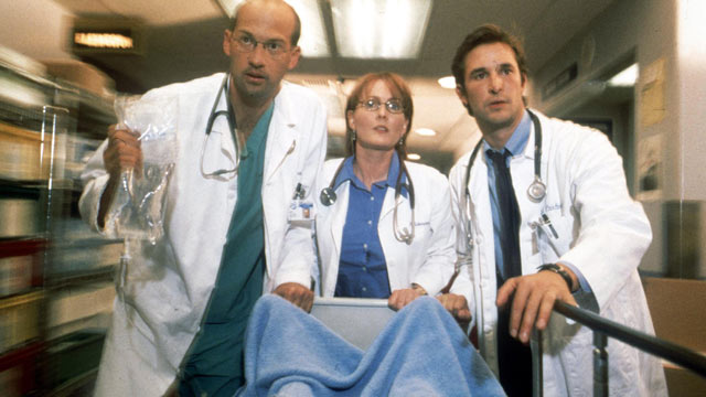 "PHOTO: Anthony Edwards, Laura Innes and Noah Wyle act in scene in NBC's primetime drama series ""ER"", 2001."