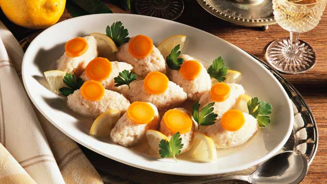 PHOTO: Gefilte fish is made from poached ground fish and held in a liquid.
